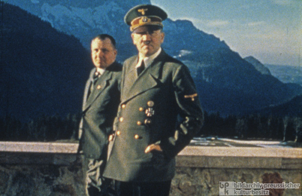 Martin Bormann and Adolf Hitler at Berghof Terrace (1942)