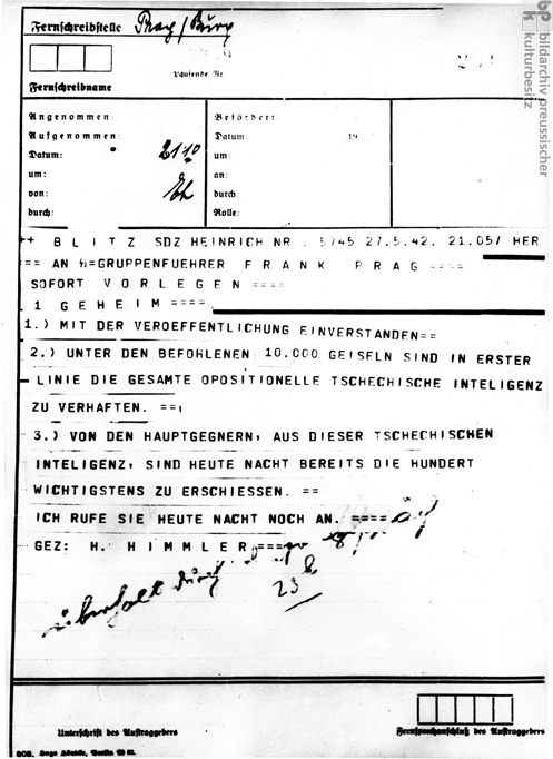 Heinrich Himmler's Order for the Arrest and Execution of Members of the Oppositional Czech Intelligentsia in Response to the Attack on Reinhard Heydrich
