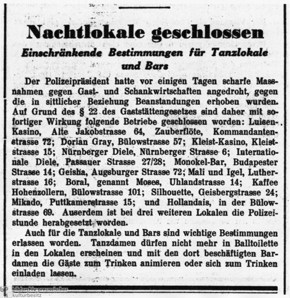 Newspaper Lists Gay and Lesbian Bars Closed by Berlin Police (March 1933)