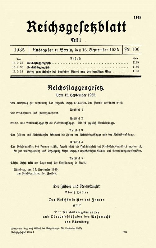 Nuremberg Laws (15 September 1935)