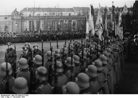 Soldiers of the Wehrmacht at a swearing in ceremony on November 7, 1935