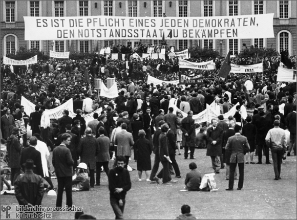 A demonstration against the Emergency Measures passed by the Bundestag (1968)
